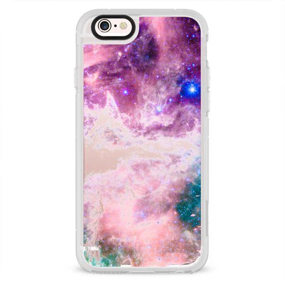 Colorful pink turquoise galaxy modern nebula