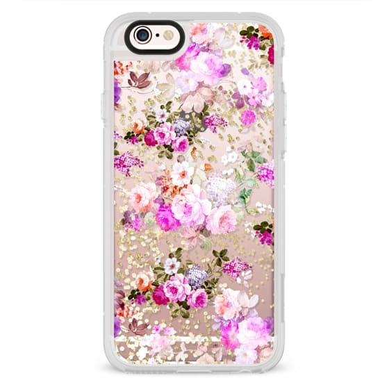 Bright pink coral roses floral gold confetti pattern