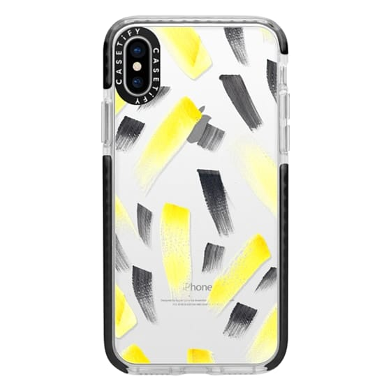 iPhone X Cases - Modern yellow black watercolor brush strokes pattern