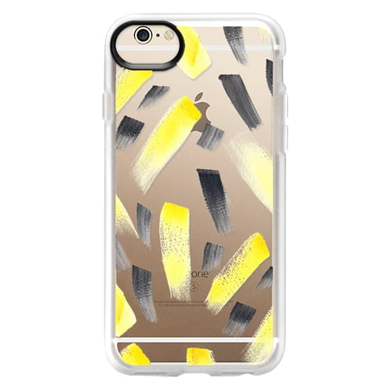 iPhone 6 Cases - Modern yellow black watercolor brush strokes pattern