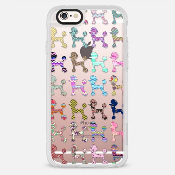 Girly colorful patterns cute poodle design