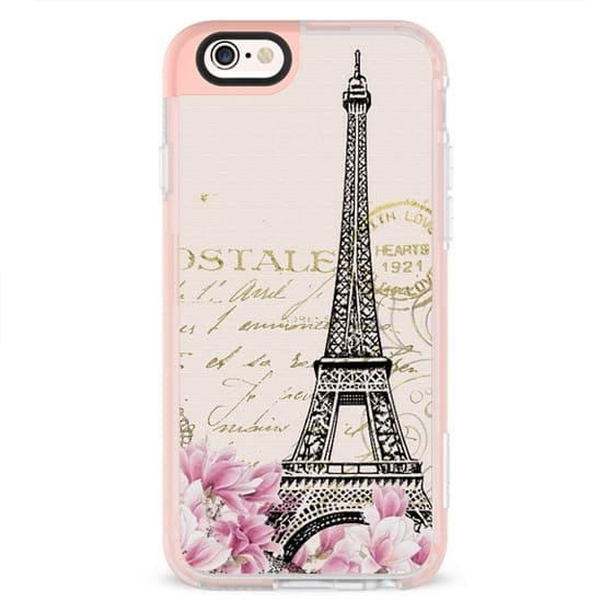 Vintage paris eiffel tower shabby chic pastel floral gold typography