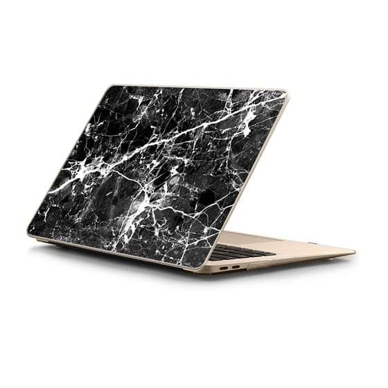 MacBook Air Retina 13 Sleeves - Black white modern chic marble texture patterns