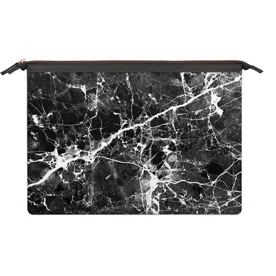 MacBook Pro Retina 13 Sleeves - Black white modern chic marble texture patterns