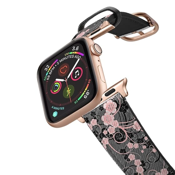Apple Watch 42mm Bands - Coral pink black abstract floral pattern