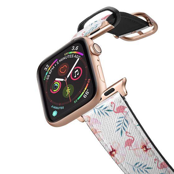 Apple Watch 42mm Bands - Tropical pink watercolor elegant flamingo floral