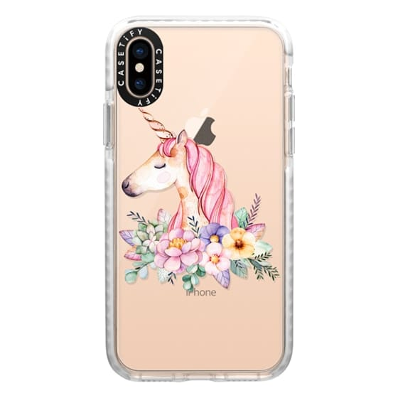 iPhone XS Cases - Hand painted watercolor pink lavender floral magical unicorn