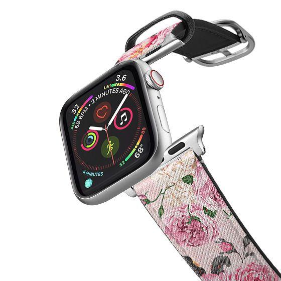 Apple Watch 38mm Bands - Vintage pink rose white floral elegant damask pattern