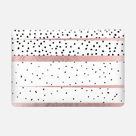 Macbook Pro 13 Capa - Modern black white dots rose gold stripes
