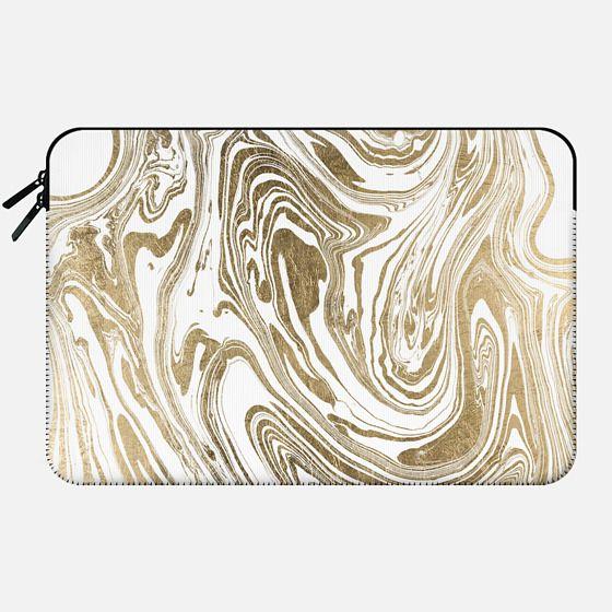 Stylish white faux gold foil elegant marble - Macbook Sleeve