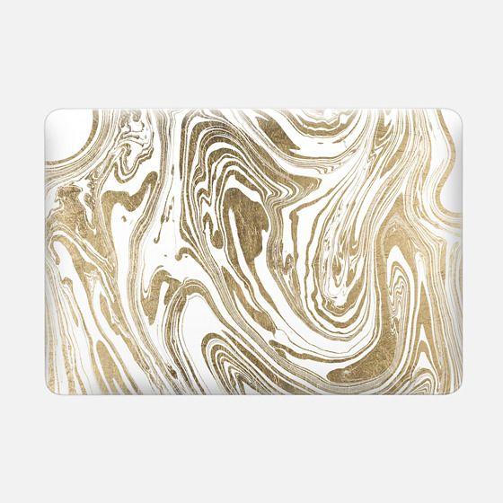 Stylish white faux gold foil elegant marble -