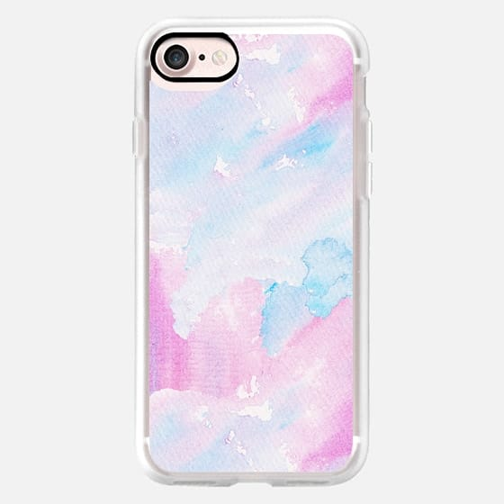 Pastel pink blue hand painted watercolor pattern -