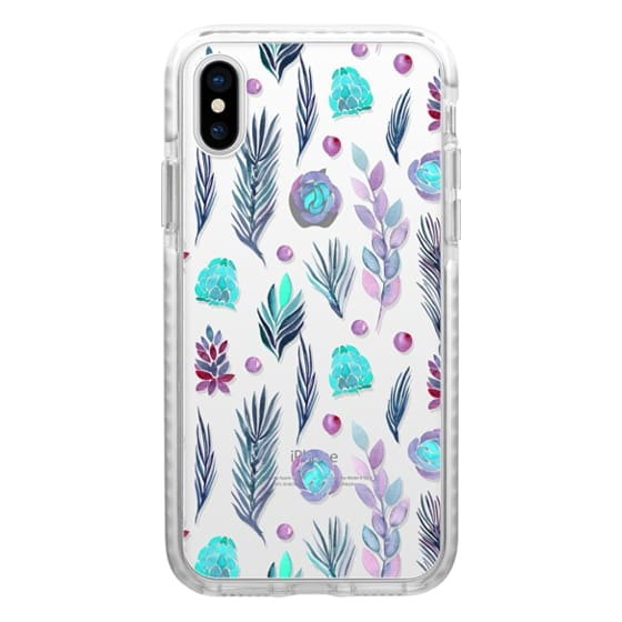 iPhone 7 Plus Cases - Teal lavender watercolor hand painted floral