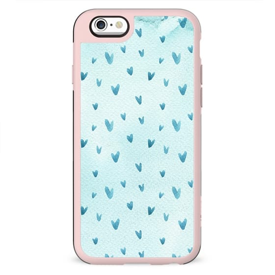 Hand painted pastel blue watercolor hearts pattern