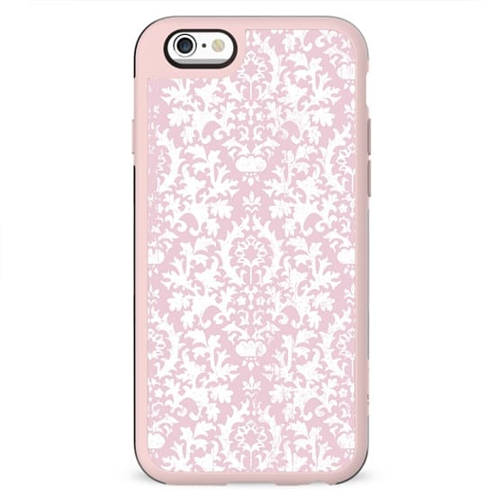 Vintage blush pink white grunge floral damask