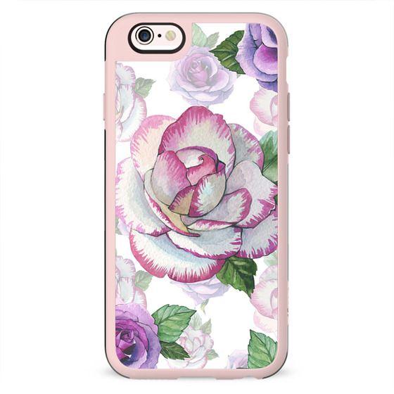 Hand painted lavender purple watercolor roses flowers