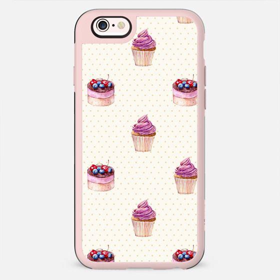 Vintage lavender pink ivory polka dots cherries pie cupcakes pattern