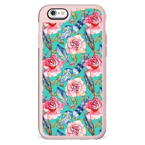 Hand painted blush pink blue turquoise watercolor boho roses floral