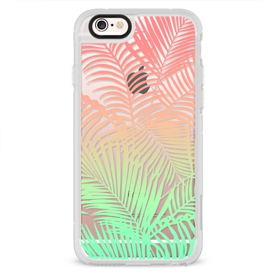 Modern coral turquoise tropical palm trees pattern