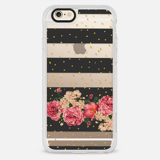 Modern  black stripes gold faux glitter floral pattern - New Standard Case
