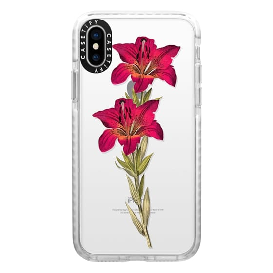 iPhone X Cases - Vintage magenta orange green colorful lily floral
