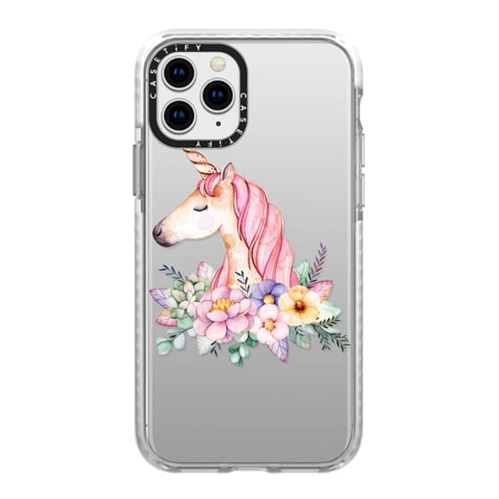 iPhone 11 Pro Cases - Hand painted watercolor pink lavender floral magical unicorn