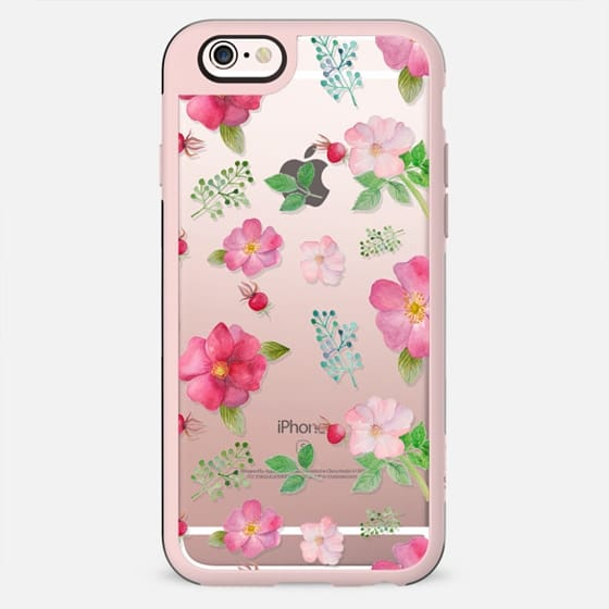 Botanical pink country roses hip floral pattern