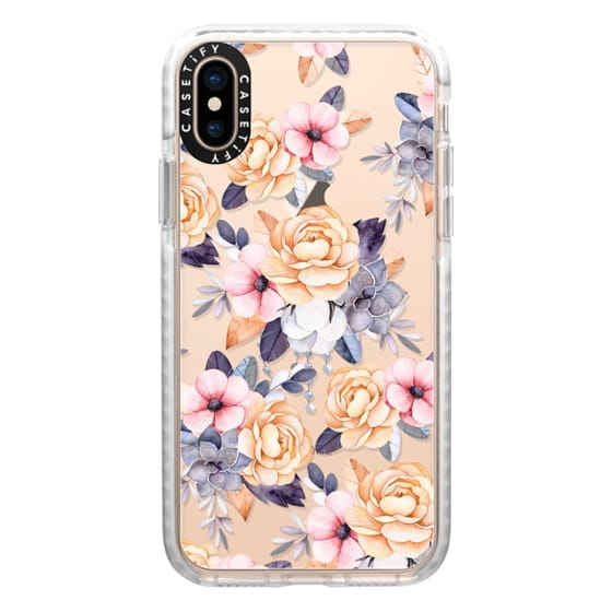 iPhone XS Cases - Blush pink purple orange hand painted watercolor floral