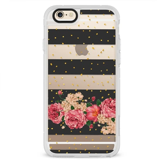 Modern  black stripes gold faux glitter floral pattern