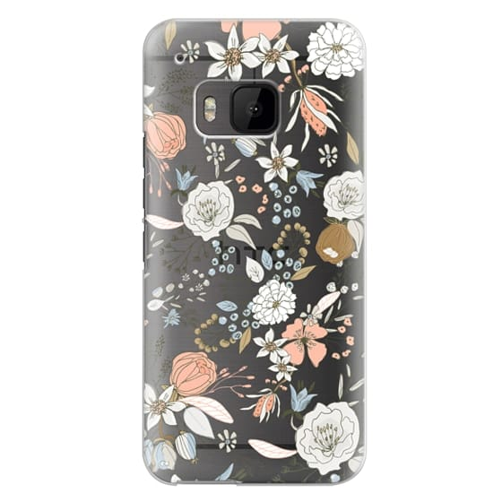 Htc One M9 Cases - Abstract modern coral white pastel rustic floral