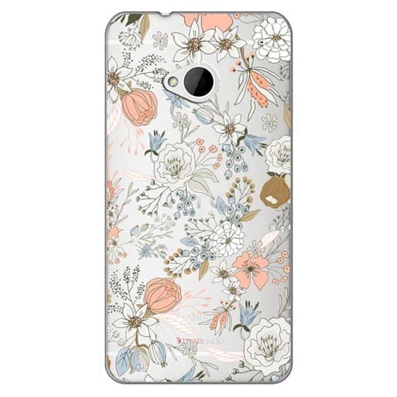 Htc One Cases - Abstract modern coral white pastel rustic floral