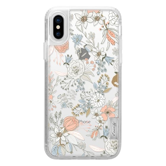 iPhone X Cases - Abstract modern coral white pastel rustic floral