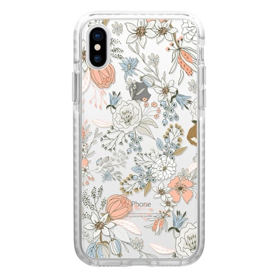 iPhone 4 Cases - Abstract modern coral white pastel rustic floral