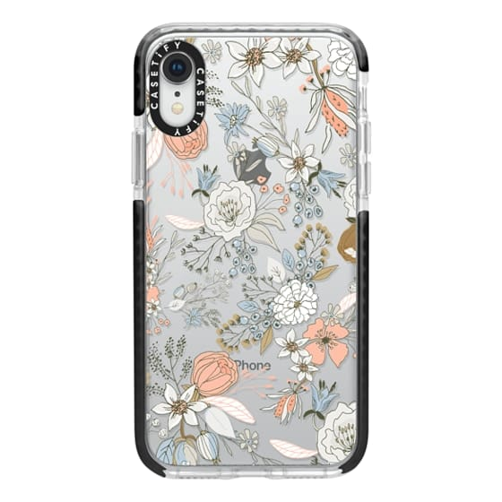 iPhone XR Cases - Abstract modern coral white pastel rustic floral
