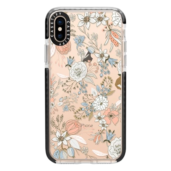 iPhone XS Cases - Abstract modern coral white pastel rustic floral