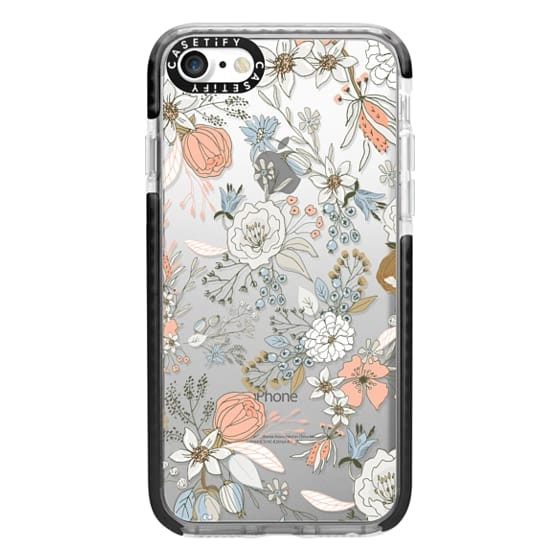 iPhone 7 Cases - Abstract modern coral white pastel rustic floral