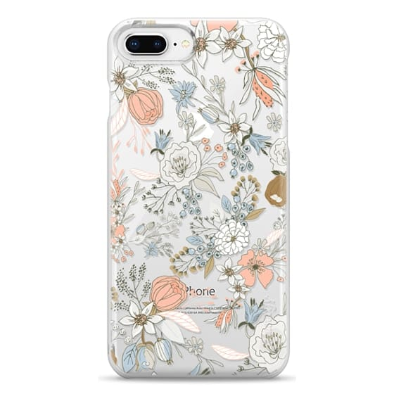 iPhone 8 Plus Cases - Abstract modern coral white pastel rustic floral