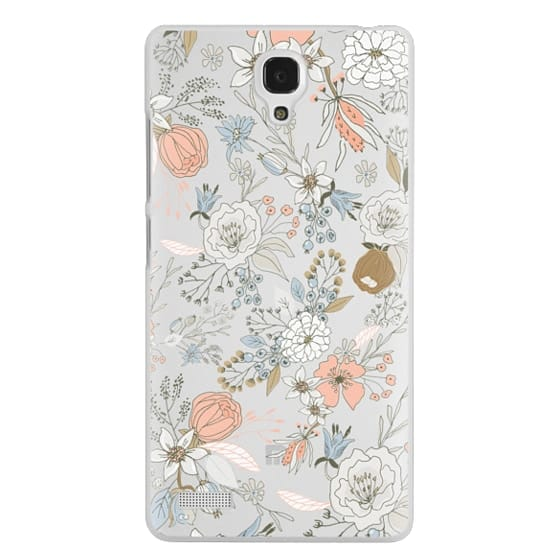 Redmi Note Cases - Abstract modern coral white pastel rustic floral