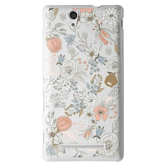Sony C3 Cases - Abstract modern coral white pastel rustic floral
