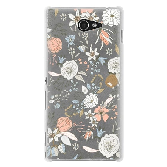 Sony M2 Cases - Abstract modern coral white pastel rustic floral