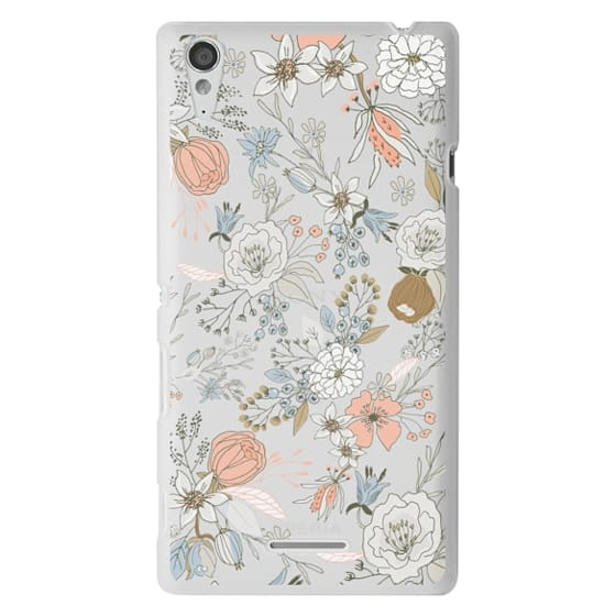 Sony T3 Cases - Abstract modern coral white pastel rustic floral
