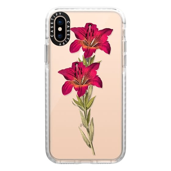 iPhone XS Cases - Vintage magenta orange green colorful lily floral