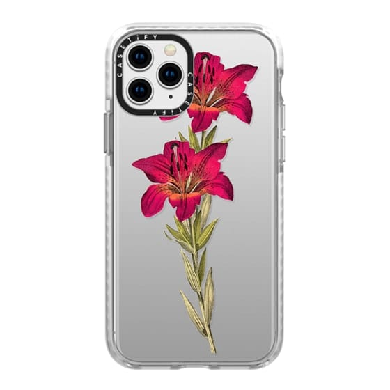 iPhone 11 Pro Cases - Vintage magenta orange green colorful lily floral