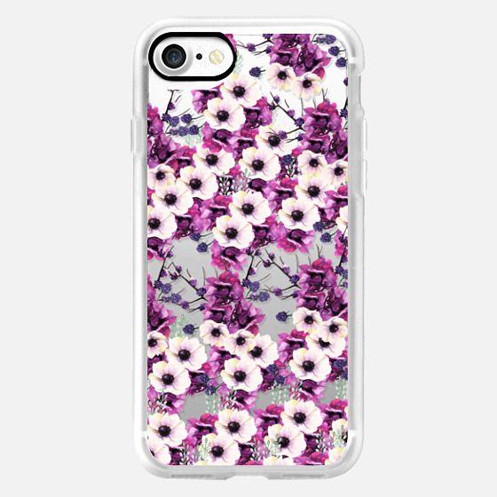 Trendy pink purple watercolor hortensia floral pattern -