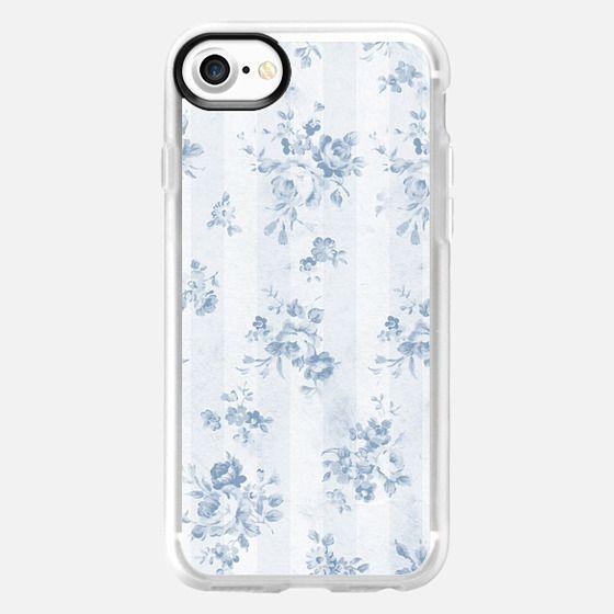 Rustic vintage blue white stripes elegant floral - Classic Grip Case