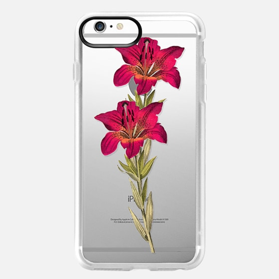 iPhone 6s Plus Hülle - Vintage magenta orange green colorful lily floral