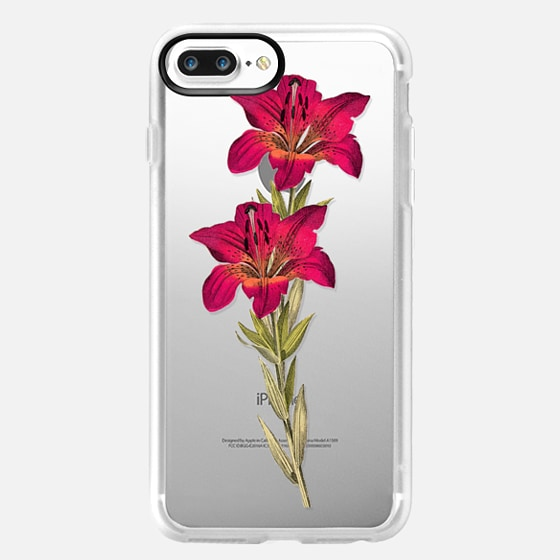 iPhone 7 Plus Capa - Vintage magenta orange green colorful lily floral
