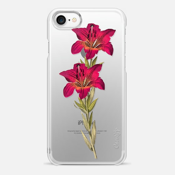 iPhone 7 Capa - Vintage magenta orange green colorful lily floral