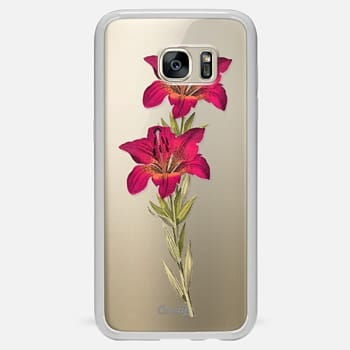 Samsung Galaxy S7 Edge ケース Vintage magenta orange green colorful lily floral