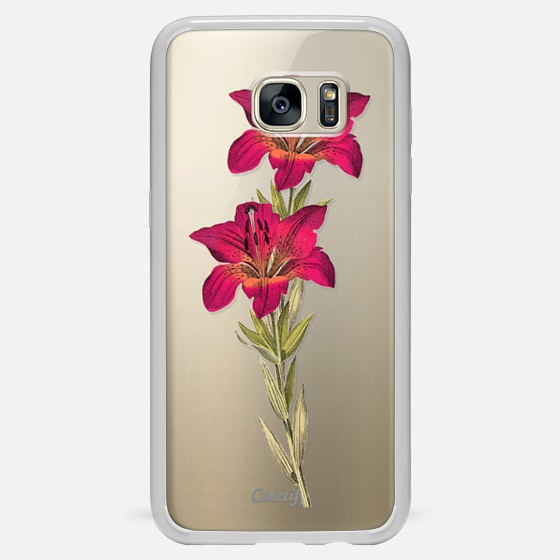 Galaxy S7 Edge 保护壳 - Vintage magenta orange green colorful lily floral